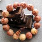15mm Incense Wood Dao Tai-Ji 8-Diagram Beads Prayer Mala Bracelet Wrist  T2548
