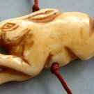 Ox Bone Carved Rabbit Pendant Bead 50mm*22mm  T2562