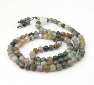 4mm 108 Indian Agate Beads Buddhist Prayer Rosary Mala  ZZ220
