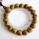 12mm Green Sandalwood FO Beads Buddhist Prayer Wrist Mala  T2590