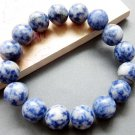 12mm Blue Point Stone Beads Jewelry Bracelet  T2593