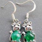 Pair Of Malay Jade Alloy Metal Rat Earrings 15mm*9mm  T2600