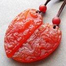 Red Carnlian Dragon Phoenix Love Pair Amulet Pendant 35mm*17mm  T2621