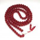 8mm 108 Wind Red Jade Beads Buddhist Prayer Mala Necklace  ZZ221