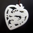 White Ox Bone Carved Celestial Dragon Heart Pendant 38mm*33mm  T2637