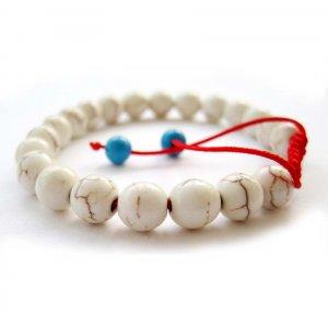 8mm White Turquoise Beads Bracelet  T2659