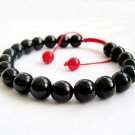 8mm Black Agate Gem Beads Bracelet  T2674