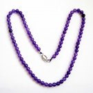 6mm Purple Stone Beads Necklace  T2678