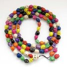 Multiple Color Turquoise Skull Beads Buddhist Prayer Mala Necklace  ZZ223