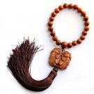 Flower Pear Wood Twin Pi-Xiu Dragons Amulet Pendant Hanging With Mala  T2731