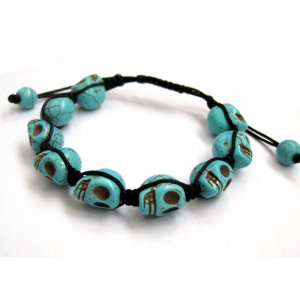 12mm Blue Turquoise Skull Beads Hand Crafted Bracelet  T2773