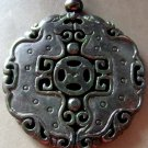 Vintage Style Black Green Jade Twin Dragons Amulet Pendant 48mm*48mm  T1204