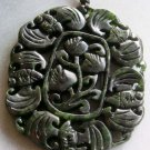Black Green Jade Five Bats Flower Pendant 53mm*45mm  T1708