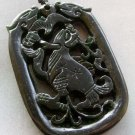 Black Green Jade Twin Dragon-Heads Bat Beast Amulet Pendant 53mm*35mm  T1762