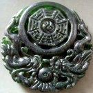 Black Green Jade Dragon Tai-Ji 8-Diagram Amulet Pendant 50mm*50mm  T2161