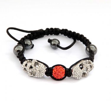 Pave Red Disc Ball Acrylic Diamond Skull Beads Bracelet  T2929