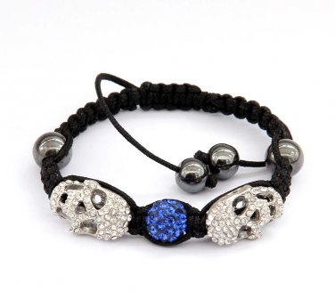 Pave Blue Disc Ball Acrylic Diamond Skull Beads Bracelet  T2931