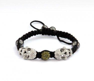 Pave Yellow Green Disc Ball Acrylic Diamond Skull Beads Bracelet  T2932