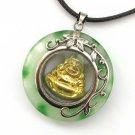 White Green Jade Alloy Metal Buddhist Buddha Amulet Pendant 30mm*30mm  T2951