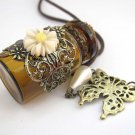 Alloy Metal Flower Butterfly Lampork Glass Bottle Pendant Necklace 39mm*23mm  T2970