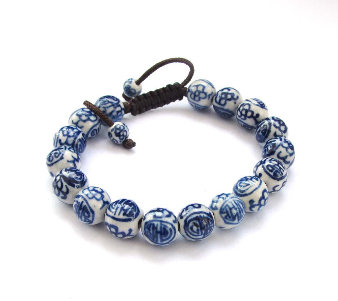 10mm Vintage Style Hand Painted Chinese Porcelain Beads Bracelet  T0248