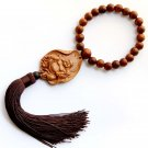 Flower Pear Wood Buddhist Buddha Amulet Pendant Hanging With Mala  T2726