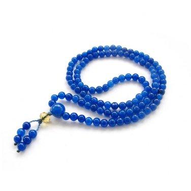 4mm 108 Blue Jade Beads Buddhist Prayer Mala  ZZ245