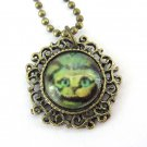 Vintage Style Alloy Metal Cat Pendant Necklace 24mm*24mm  T2975