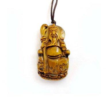 Tiger Eye Gem Han Dynasty Guan-Gond Amulet Pendant 36mm*20mm  T3004