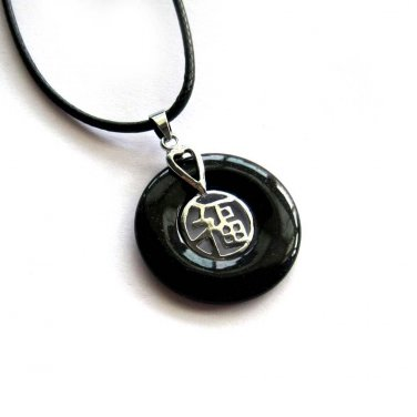 Black Jade Alloy Metal Good Blessing FU Amulet Pendant 25mm*25mm  T3011
