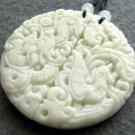 Pair Of Natural Stone Dragon Phoenix Love Amulet Pendant 49mm*49mm  TH288