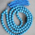 8mm 108 Blue Turquoise Gem Beads Buddhist Prayer Mala Necklace  ZZ065