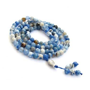 Faceted Frosted Blue Stone Meditation Yoga Tibet Buddhist 108 Prayer Beads Mala--6mm  ZZ254