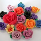 17Pieces Multi-Color Fimo Clay Polymer Rose Flower Beads Finding 17mm*10mm  ja0058