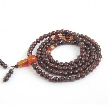 4mm Chinese Fashion Style Garnet Stone 108 Prayer Beads Tibet Buddhist Buddha Stretchy Mala  ZZ262