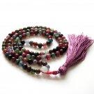 8mm Round Flower Agate Gemstone Meditation Yoga Tibet Buddhist 108 Prayer Beads Mala Necklace  ZZ269