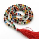 6mm 108 Colorful Agate Gemstone Meditation Yoga Tibet Buddhist 108 Prayer Beads Mala  ZZ278