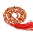 6mm Faceted Red Flower Agate Gemstone 108 Prayer Beads Tibet Buddhist Japa Mala Knotted  ZZ280