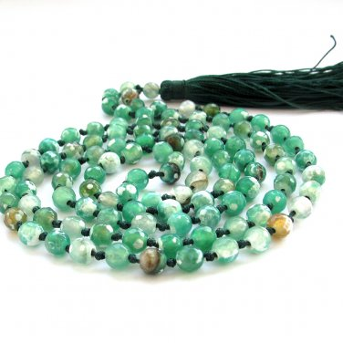 6mm Faceted Green Flower Agate Gemstone 108 Prayer Beads Tibet Buddhist Japa Mala Knotted  ZZ281