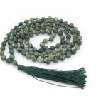 6mm Moss Agate Gemstone Round Knotted 108 Rosary Beaded Prayer Beads Mala  ZZ293