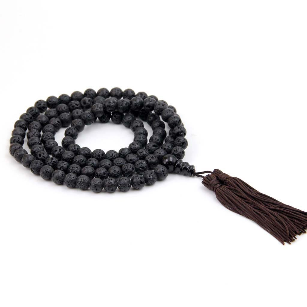 8mm 108 Volcano Stone Beads Tibet Buddhist Prayer Mala Necklace  ZZ185