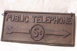 Cast Iron Public Telephone Plaque