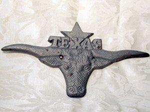 Cast Iron Large Texas Longhorn Plaque