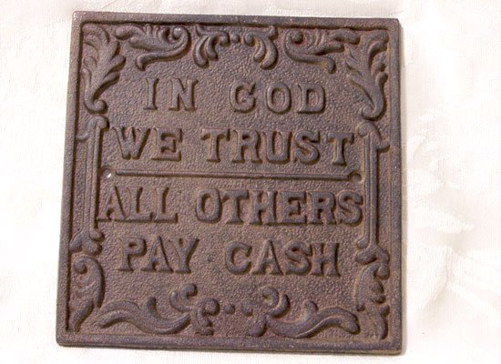 Cast Iron In God We Trust Plaque
