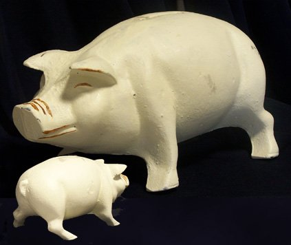 Cast Iron Large White Pig Bank