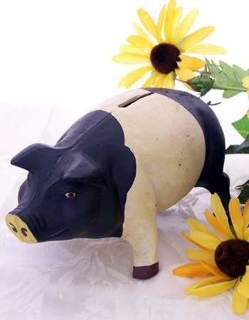 Cast Iron Black & White Pig Bank
