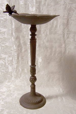 "Cast Iron 23"" Tall Bird Bath"