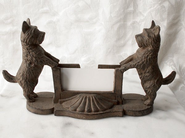 Cast Iron Scottie Business Card Holder