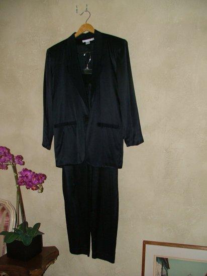 Vintage 80's Vogue Alley black silk charmeuse suit xs