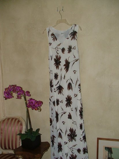 Tessuto ivory and brown dress sz L